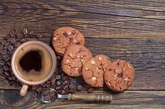 Biscuits de café et de chocolat Photos stock
