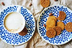 Biscuits de caf? flatlay photo stock