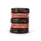 Biscuits de chocolat d'isolement sur le fond blanc Photographie stock libre de droits