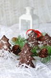 Biscuits de chocolat de Noël Photographie stock libre de droits