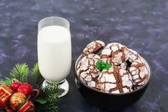 Biscuits de chocolat et un verre de lait sur le fond foncé Images libres de droits