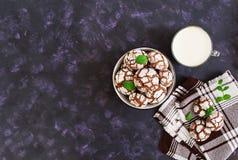Biscuits de chocolat et un verre de lait sur le fond foncé Vue supérieure Image stock