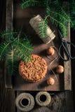 Biscuits de chocolat sucré avec les écrous et le sapin photos libres de droits
