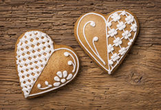 Biscuits de coeur de pain d'épice Image libre de droits