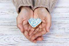 Biscuits de coeur en main, biscuits de vacances à disposition Images stock