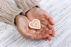 Biscuits de coeur en main, biscuits de vacances à disposition Photos stock