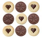 Biscuits de coeur et de cercle d'isolement sur le fond blanc Photographie stock