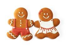 Biscuits de couples de pain d'épice de Noël Photos stock