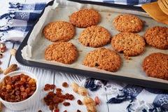 Biscuits de farine d'avoine croustillants fraîchement cuits au four, plan rapproché photos libres de droits