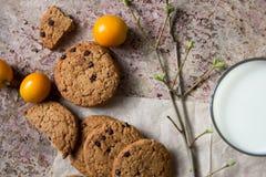 biscuits de farine d'avoine sur le papier, lait, schénanthe Photos stock