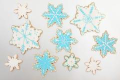 Biscuits de flocon de neige de pain d'épice Photo stock
