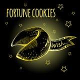Biscuits de fortune chinois réglés Biscuit d'or tiré par la main sur le fond noir avec des étoiles Illustration de vecteur illustration libre de droits