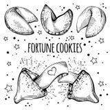 Biscuits de fortune chinois réglés Illustration noire et blanche tirée par la main de vecteur d'isolement illustration libre de droits