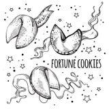 Biscuits de fortune chinois réglés Illustration noire et blanche tirée par la main de vecteur d'isolement illustration de vecteur