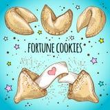 Biscuits de fortune chinois réglés Illustration de vecteur de style de croquis illustration stock