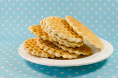 Biscuits de gaufrette d'un plat Photo libre de droits