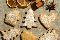 Biscuits de gingembre et épices sèches Images stock