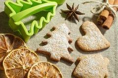 Biscuits de gingembre et forme de sapin Photographie stock libre de droits