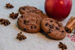Biscuits de hocolate de ¡ de Ð avec de la cannelle, la pomme et l'anis photo libre de droits