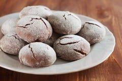Biscuits de krinkle de 'brownie' Dessert de chocolat Photo stock