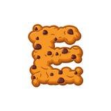 Biscuits de lettre d'E Police de biscuit Symbole d'alphabet de biscuit de farine d'avoine Images libres de droits
