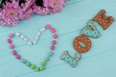 Biscuits de lettre pour le jour de valentines Images libres de droits