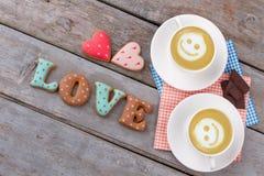 Biscuits de lettre pour le jour de valentines Images stock