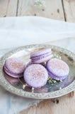 Biscuits de Macaron dans un plat Image stock