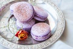 Biscuits de Macaron dans un plat Image libre de droits