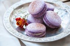Biscuits de Macaron dans un plat Photos libres de droits
