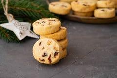 Biscuits de Noël avec des écrous et des canneberges Décoration de Noël Copiez l'espace photo stock