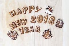 Biscuits de Noël Bonne année 2016 Photographie stock