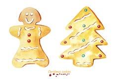 Biscuits de Noël d'aquarelle Image libre de droits