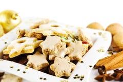 Biscuits de Noël de plaque Photos libres de droits