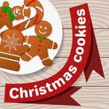 Biscuits de Noël, ensemble décoratif pour la conception d'un plat blanc illustration stock
