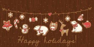 Biscuits de Noël Scénographie de guirlande Illustration de vecteur Photo libre de droits