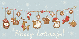 Biscuits de Noël Scénographie de guirlande Illustration de vecteur Image libre de droits