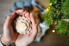 Biscuits de Noël sous forme de coeur chez les paumes des enfants images libres de droits