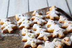 Biscuits de Noël sous forme d'arbres de Noël images libres de droits