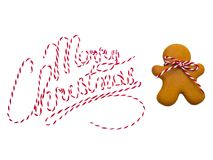 Biscuits de Noël sur le fond blanc Traitement au four de Noël Effectuer des biscuits de Noël de pain d'épice Concept de Noël Photos stock