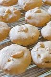 Biscuits de noix de cajou sur la grille en acier Images stock