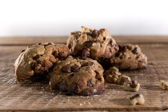 Biscuits de noix de pécan de puce de chocolat Image stock