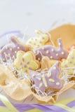 Biscuits de Pâques dans le support d'oeufs Images stock