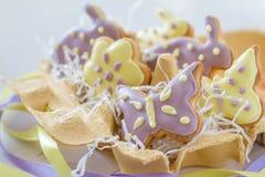 Biscuits de Pâques dans le support d'oeufs Image stock