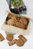 Biscuits de pain d'épice dans la boîte Photo libre de droits