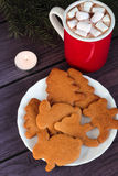 Biscuits de pain d'épice de Noël, chocolat chaud Photographie stock libre de droits