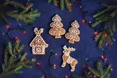 Biscuits de pain d'épice sur le fond bleu - maison, arbres, cerfs communs Photo stock