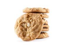 Biscuits de pile sur un fond d'isolement blanc Image stock