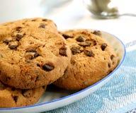 Biscuits de puce de chocolat de plaque Images stock
