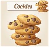 Biscuits 2 de puce de chocolat Icône détaillée de vecteur Photos libres de droits